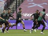 Aston Villa's Jack Grealish celebrates scoring against West Ham United in the Premier League on July 26, 2020