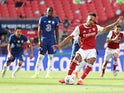 Arsenal's Pierre-Emerick Aubameyang scores against Chelsea in the FA Cup final on August 1, 2020