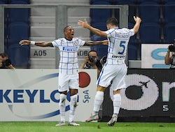 Inter Milan's Ashley Young celebrates scoring against Atalanta BC in Serie A on August 1, 2020