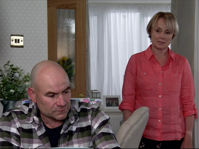 Sally tries to talk to Tim on Coronation Street on August 7, 2020