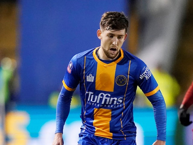 Callum Lang pictured playing for Shrewsbury Town in January 2020