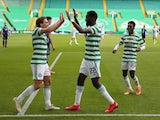 Celtic's Odsonne Edouard celebrates scoring against Hamilton in the Scottish Premiership on August 2, 2020