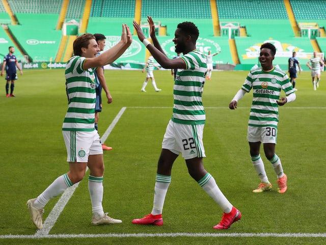 Celtic's Odsonne Edouard celebrates scoring against Hamilton in the Scottish Premiership on August 2, 2020