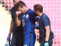 Chelsea's Cesar Azpilicueta leaves the field in tears on August 1, 2020