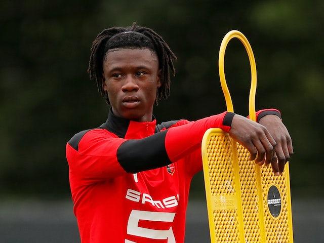 Eduardo Camavinga has a rest during Rennes training on July 1, 2020