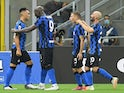 Inter Milan players celebrate Lautaro Martinez's goal on July 28, 2020