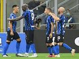 Inter Milan players celebrate Lautaro Martinez's goal on July 28, 2020