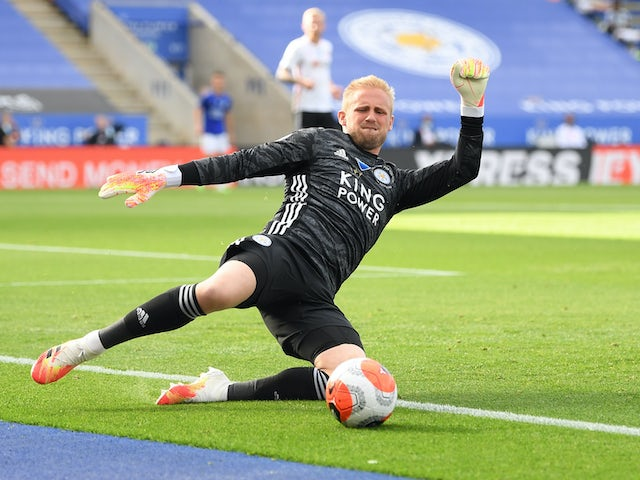 Kasper Schmeichel in action for Leicester City on July 16, 2020