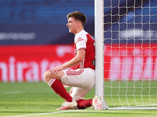 Kieran Tierney in action for Arsenal on August 1, 2020