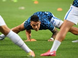 Lautaro Martinez warms up for Inter on August 1, 2020