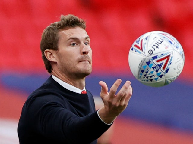 Exeter City boss Matt Taylor pictured during the League Two playoff final in June 2020