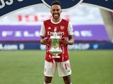 Pierre-Emerick Aubameyang poses with the FA Cup on August 1, 2020