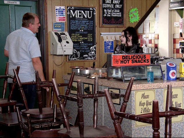 Steve causes a scene in the cafe on Coronation Street on August 12, 2020