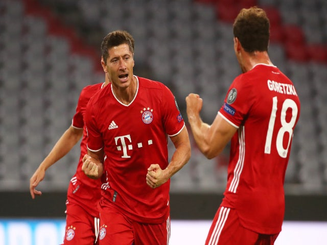 Bayern Munich's Robert Lewandowski celebrates scoring against Chelsea in the Champions League on August 8, 2020