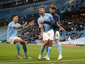 Manchester City's Gabriel Jesus celebrates scoring against Real Madrid in the Champions League on August 7, 2020