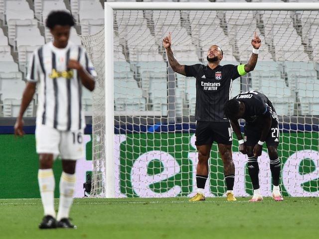 Lyon's Memphis Depay celebrates scoring against Juventus in the Champions League on August 7, 2020