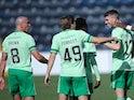 Celtic's Ryan Christie celebrates scoring against Kilmarnock in the Scottish Premiership on August 9, 2020