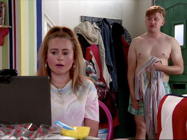 A naked Chesney on Coronation Street on August 10, 2020