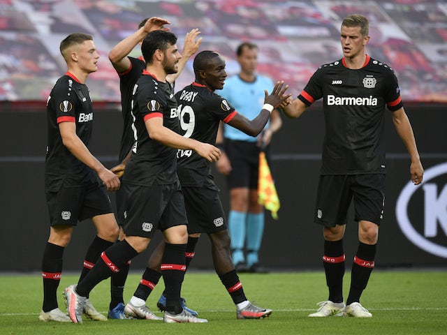 Bayer Leverkusen's Moussa Diaby celebrates scoring against Rangers in the Europa League on August 6, 2020