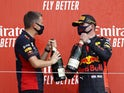 Red Bull's Max Verstappen celebrates winning the 70th Anniversary Grand Prix