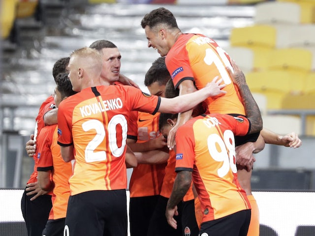Shakhtar Donetsk's Junior Moraes celebrates scoring against Wolfsburg in the Europa League on August 5, 2020