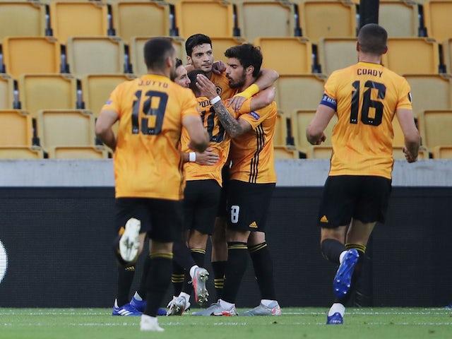 Wolverhampton Wanderers striker Raul Jimenez celebrates scoring against Olympiacos in the Europa League on August 6, 2020