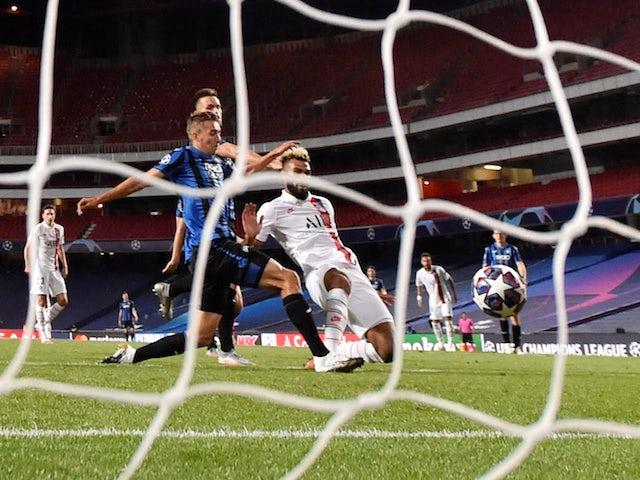 Paris Saint-Germain's Eric Maxim Choupo-Moting scores against Atalanta BC in the Champions League on August 12, 2020