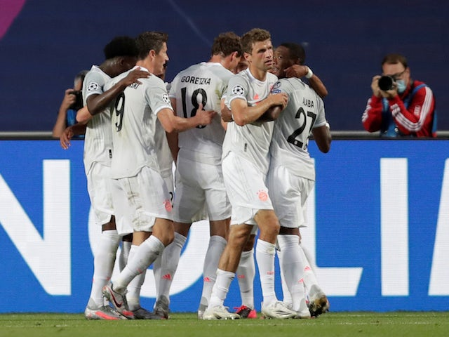 Bayern Munich players celebrate Thomas Muller's goal against Barcelona on August 14, 2020