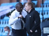 Kilmarnock manager Alex Dyer with Celtic counterpart Neil Lennon in August 2020