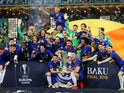 Chelsea celebrate with the Europa League trophy in 2019