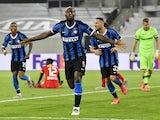 Inter Milan's Romelu Lukaku celebrates scoring against Bayer Leverkusen on August 10, 2020