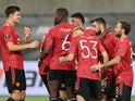 Manchester United players celebrate Bruno Fernandes's goal against Copenhagen on August 10, 2020
