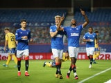 Rangers's Joe Aribo celebrates scoring against St Johnstone in the Scottish Premiership on August 12, 2020