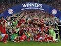 Bayern Munich players celebrate winning the Champions League in 2013