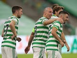 Celtic's Greg Taylor celebrates scoring against KR Reykjavik with Scott Brown and Ryan Christie in the Champions League on August 18, 2020