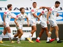 Exeter Chiefs celebrate Stuart Hogg's try against Sale Sharks on August 21, 2020