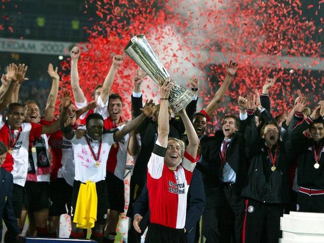 Feyenoord players celebrate winning the 2002 UEFA Cup final