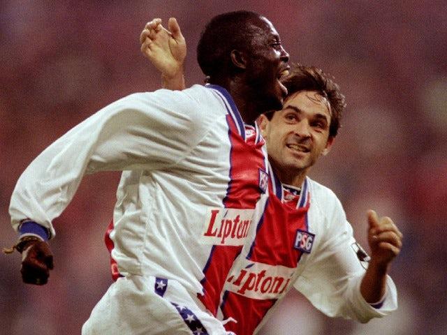 George Weah pictured in action for Paris Saint-Germain in November 1994