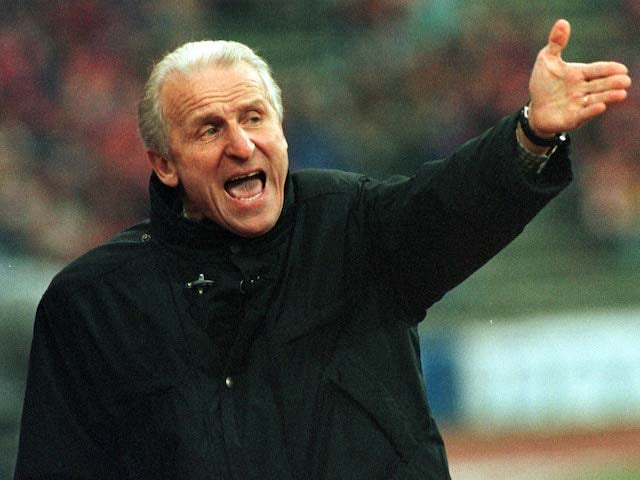 Giovanni Trapattoni pictured in charge of Bayern Munich in March 1998