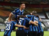 Inter Milan players celebrate scoring against Shakhtar Donetsk on August 17, 2020