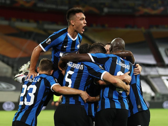 Inter Milan players celebrate scoring against Shakhtar Donetsk on August 17, 2020