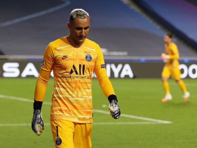 Paris Saint-Germain's Keylor Navas goes off injured in the Champions League against Atalanta BC on August 12, 2020