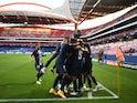 Paris Saint-Germain celebrate scoring against RB Leipzig in the Champions League on August 18, 2020