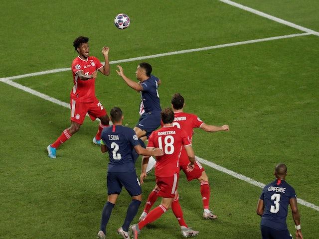 Bayern Munich's Kingsley Coman scores against Paris Saint-Germain in the Champions League final on August 23, 2020