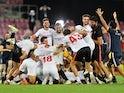 Sevilla celebrate winning the 2019-20 Europa League on August 21, 2020