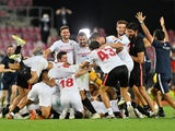 Sevilla celebrate winning the 2019-20 Europa League on August 21, 2020