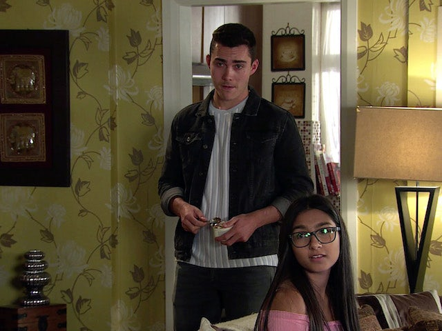 Corey and Asha on Coronation Street's first episode on September 11, 2020