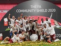 Arsenal players celebrate winning the Community Shield against Liverpool on August 29, 2020