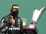 Lewis Hamilton celebrates winning the Belgian Grand Prix on August 30, 2020
