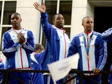 Britain's Olympic gold medal-winning men's 4x100 relay team pictured in 2004